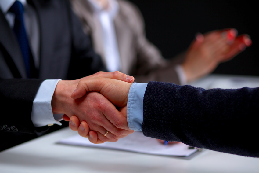 handshake in office.